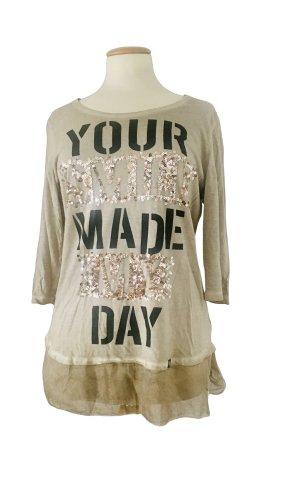 Key Largo, Shirt, 3/4 Arm, beige, Pailletten Print Glitzer wie neu, Gr. M