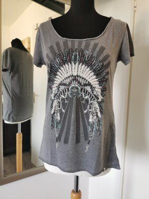 Key Largo Shirt Gr. L mit Glitzer Indianerprint Grau/Bunt