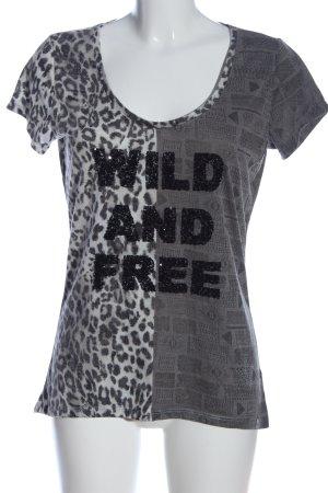 Key Largo T-Shirt hellgrau-schwarz Leomuster Casual-Look