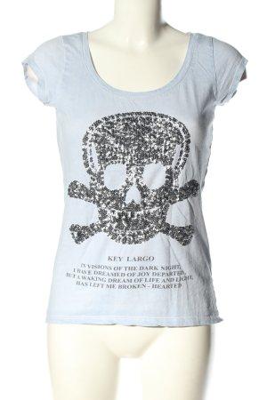 Key Largo T-Shirt hellgrau-schwarz Motivdruck Casual-Look