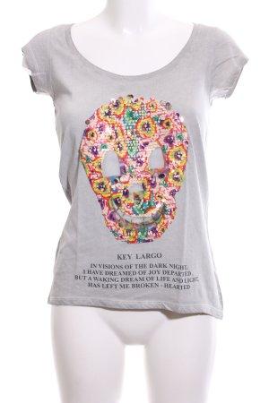 Key Largo T-Shirt hellgrau Motivdruck Casual-Look