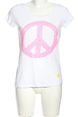 Key Largo T-Shirt weiß-pink Motivdruck Casual-Look