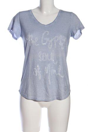 Key Largo T-Shirt hellgrau Schriftzug gedruckt Casual-Look