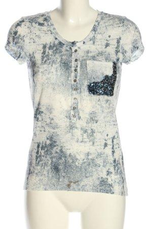 Key Largo T-Shirt schwarz-creme Allover-Druck Casual-Look