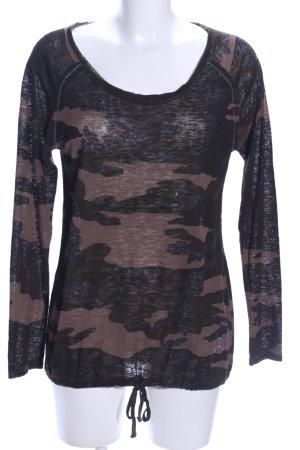 Key Largo Boatneck Shirt black-brown camouflage pattern casual look