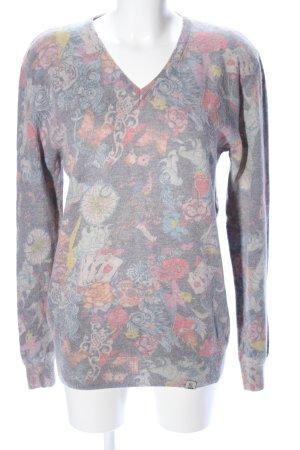 Key Largo V-Ausschnitt-Pullover Blumenmuster Casual-Look