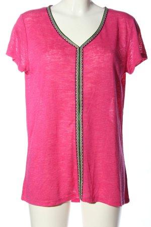 Key Largo V-Ausschnitt-Shirt pink meliert Casual-Look