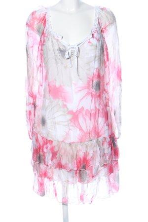 Keysha Tuniekjurk lichtgrijs-roze bloemenprint elegant