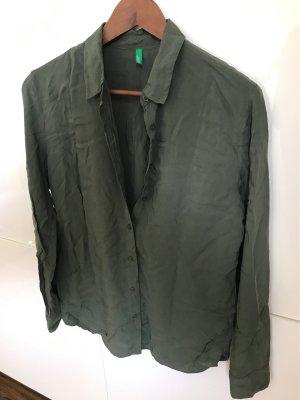 Khaki Bluse mit Hemdkragen