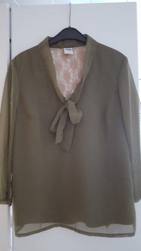 Khaki Bluse mit Schleife