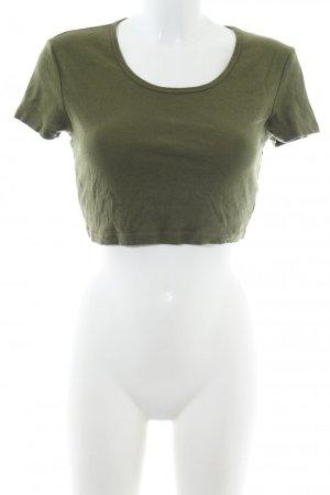 Topolino Cropped shirt khaki-donkergroen Katoen
