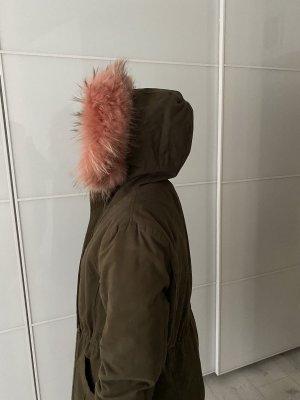 Manteau de fourrure rose-kaki