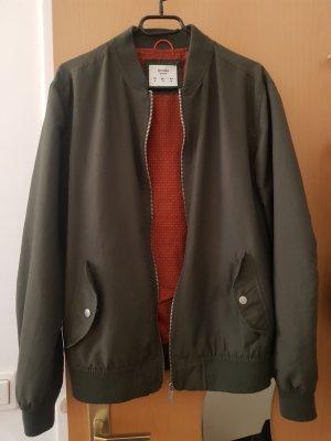 Khaki-farbene Bomber/Harrington-Jacke