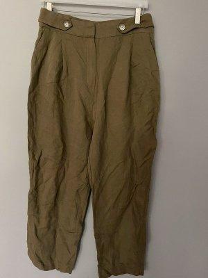 Mango Suit Falda pantalón de pernera ancha marrón claro-ocre lyocell