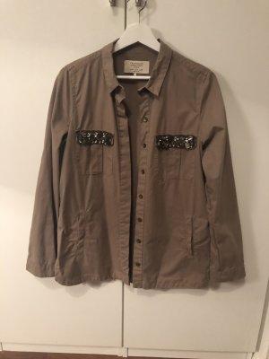 Khaki farbenes Hemd mit Glitzersteinen