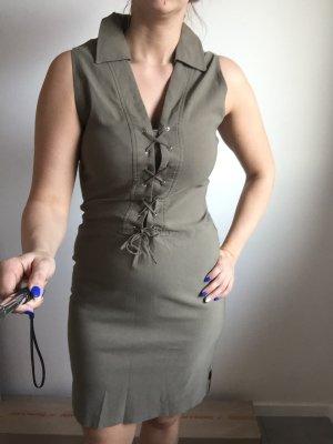 Khaki farbenes Kleid mit Schnürung und Strech