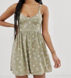 Khaki geblümtes Kleid