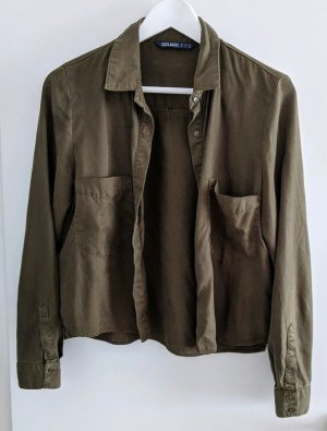 Khaki Hemd kurz cropped Bluse Zara S dunkelgrün
