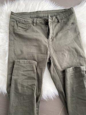 Spodnie khaki zielono-szary