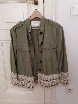 Zara Giacca militare verde chiaro-beige chiaro Cotone