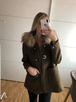 Zara Manteau à capuche kaki polyester