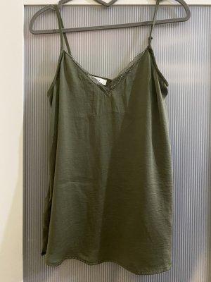 Promod Zijden top groen-grijs-khaki