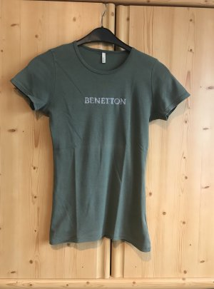Benetton T-shirt kaki-argenté