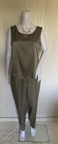 Khaki Vintage Kostüm: Bluse + Hose