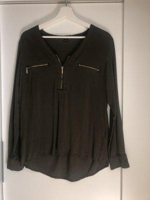 Khakifarbene Bluse mit goldenen Details