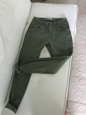 Vero Moda Boyfriendbroek khaki-groen-grijs Katoen