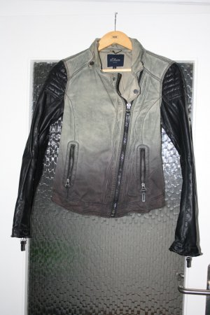 Khakifarbene Lederjacke von s.Oliver