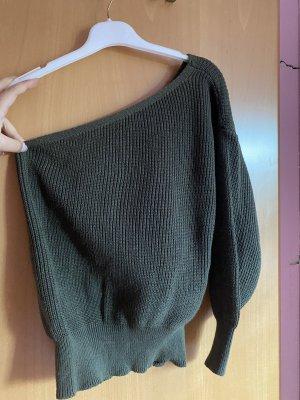 Khakifarbener One-Shoulder Pullover