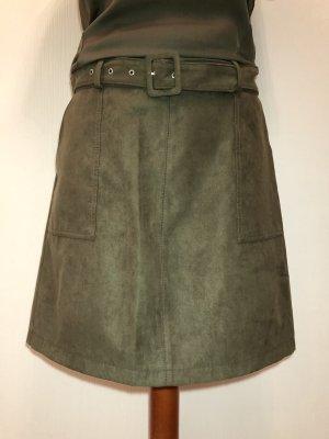 Oasis Spódnica z imitacji skóry oliwkowy Tkanina z mieszanych włókien