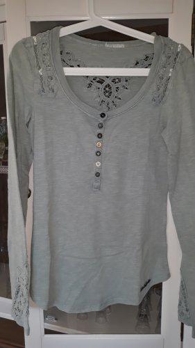 Khujo Gehaakt shirt munt-turkoois Katoen