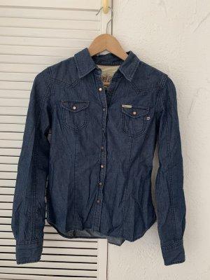 Khujo Blouse en jean bleu foncé