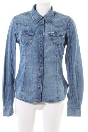 Khujo Spijkershirt blauw-wit volledige print casual uitstraling