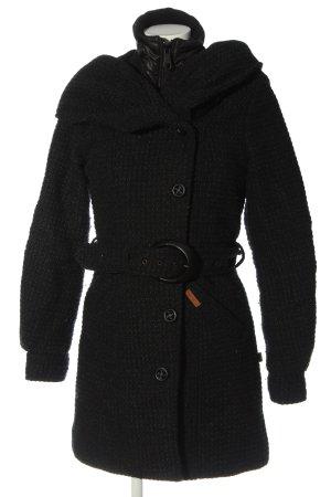 Khujo Veste à capuche noir-gris clair imprimé allover élégant