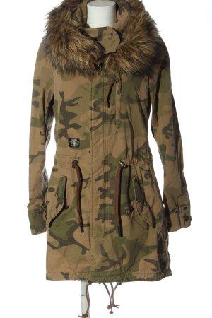 Khujo Kunstfelljacke khaki-braun Camouflagemuster Casual-Look