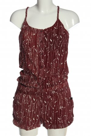Khujo Kurzer Jumpsuit red-white abstract pattern casual look
