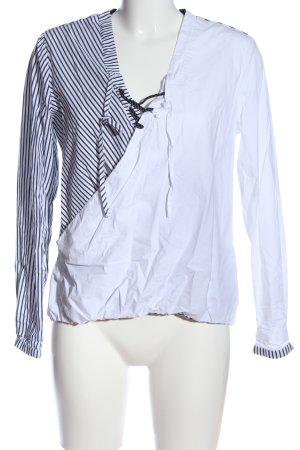 Khujo Langarm-Bluse weiß-schwarz Streifenmuster Casual-Look