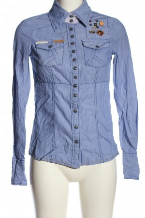 Khujo Langarm-Bluse blau-weiß Streifenmuster Casual-Look