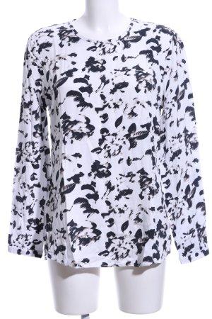 Khujo Langarm-Bluse weiß-schwarz Allover-Druck Casual-Look