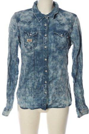 Khujo Langarmhemd blau-weiß Farbverlauf Casual-Look
