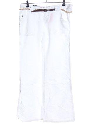Khujo Pantalone di lino bianco stile casual