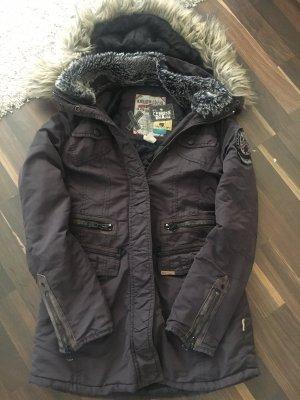 Khujo Manteau à capuche brun foncé