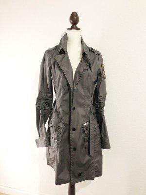 Khujo Mantel Jacke grau gewachste Oberfläche Größe 38 40 M