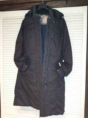 Khujo Pikowany płaszcz jasnobrązowy-ciemnoniebieski
