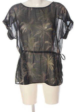 Khujo Blusa trasparente nero-crema stampa integrale stile casual