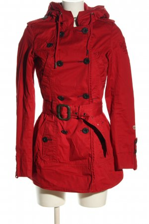 Khujo Übergangsmantel rot Motivdruck Casual-Look