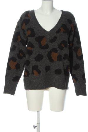 Khujo Maglione con scollo a V grigio chiaro Stampa leopardata stile casual
